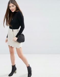 ASOS A-Line Mini Skirt with Scallop Hem at ASOS. Shop this season's must haves with multiple delivery and return options (Ts&Cs apply). A Line Mini Skirt, Mini Skirts, Scalloped Hem, Must Haves, Fashion Online, Asos, Outfits, Shopping, Suits