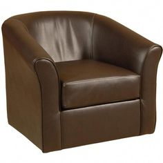 Add contemporary appeal to your living space with this modern brown chair from RC Willey. With its soft curves and swivel, this chair can easily turn side to side allowing you to reach anything you need. Swivel Barrel Chair, Papasan Chair, Swivel Armchair, Chair And Ottoman, Chair Upholstery, Upholstered Dining Chairs, Dining Chair Set, Living Room Chairs, Movie Chairs