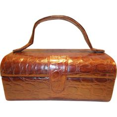 Rare Vintage Art Deco 1940's crocodile train case box handbag rare