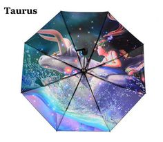 Personality Taurus Zodiac Sun Rain Folding Cartoon Inverted Umbrella Women Three Folding Anti-UV Sunshade Parasols Umbrellas #Affiliate