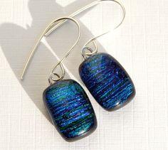 Emerald Green Dichroic Glass Dangle Earrings  by TremoughGlass