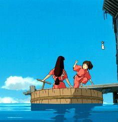 Hayao Miyazaki - Animated Gif - Spirited Away Totoro, Studio Ghibli Art, Studio Ghibli Movies, Hayao Miyazaki, Laurence Anyways, Anime Studio, Chihiro Y Haku, Japanese Animated Movies, Castle In The Sky