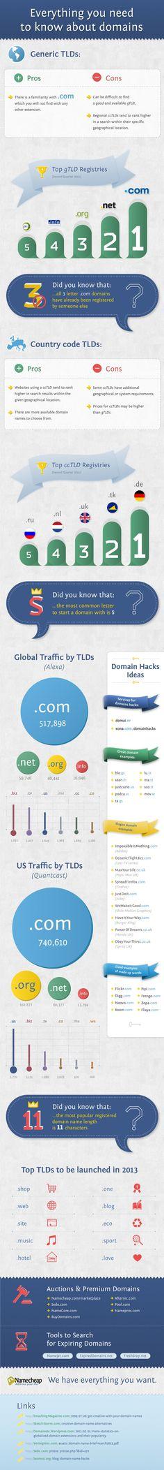 Todo lo que necesitas saber sobre los Dominios #infografia #infographic #internet