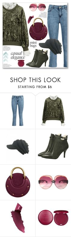 """Casual Chic Mesh Ruffle Neck Velvet Sweatshirt"" by jecakns ❤ liked on Polyvore featuring Yves Saint Laurent, By Terry and Stila"