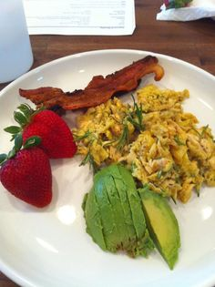 eggs scrambled with sautéed chicken and rosemary, bacon, local ...