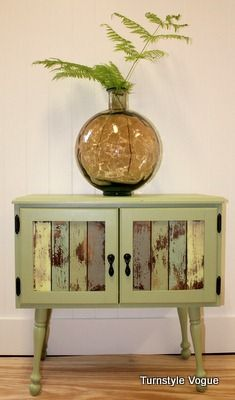 Cool repurposing of not-so-vintage furniture! Love the colors!
