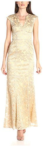 JS Collections Womens Metallic Lace VNeck Long Gown RoseGold 2 -- Click on the image for additional details.