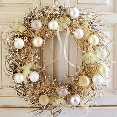 white + gold twig wreath