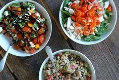 Summer Tomato Dinner - three tomato salads, one is Black Bean and Tomato Quinoa (recipe included)