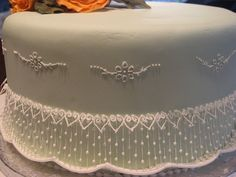 Royal icing string work--not the easiest thing to do, but it's amazing.