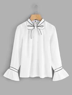 Top Decorated with Ruffle, Tie Neck. Perfect choice for School wear. Fabric has no stretch. Classy Outfits, Stylish Outfits, Beautiful Outfits, Girl Outfits, Cute Outfits, Fashion Outfits, Fashion Trends, Chic Fall Fashion, Girl Fashion