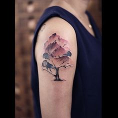 Watercolor Magnolia Tree Tattoo On Right Shoulder