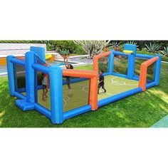 Ensure your children stay safe while playing by weighing down the court with the PVC water bags. With an included air-blowing unit, this inflatable court is easy to set up. Inflatable basketball court