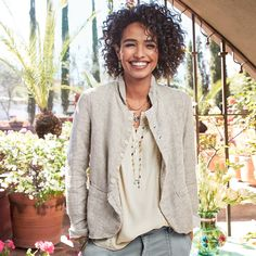 """DREE LINED JACKET--Our button-front, basket-weave linen jacket has a beautiful drape and a casually elegant vibe. Fully lined. Two pockets. By CP Shades. Machine wash. USA. Exclusive. Sizes XS (2), S (4 to 6), M (8 to 10), L (12 to 14), XL (16). Approx. 22-1/2""""L."""