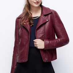Ann Taylor Burgundy Vegan Leather Jacket Brand new without tags and never worn! So chic and the perfect pop of color. Goes with everything! Moto style sleeve zips and button detail. Perfect condition. No trades!! 012716250hh Ann Taylor Jackets & Coats