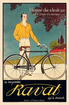 La Bicyclette Ravat Vintage Bicycle Poster