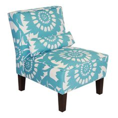 A delightful addition to your living room or parlor, this eye-catching accent chair showcases floral-print upholstery in turquoise.  Pro...