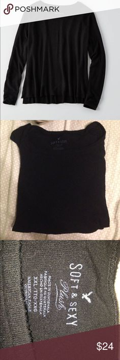 AEO Soft & Sexy Plush Size XXL black plush long sleeve top by AEO. So warm, perfect for fall!!! Not available anywhere else! American Eagle Outfitters Tops Tees - Long Sleeve