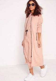 Extreme Longline Zip Front Sweat Pink