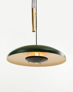 Gino Sarfatti; #2069 Enameled Perforated Aluminum and Brass Ceiling Light, 1952.