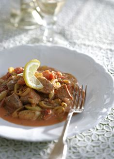 Naoussa Style Braised Pork and Leeks   Greek Food - Greek Cooking - Greek Recipes by Diane Kochilas
