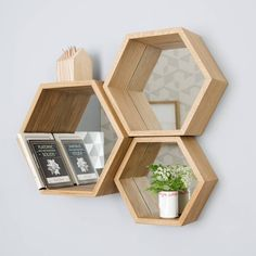 Ive just found Hexagon Mirror Shelves. A stunning set of soild wood hexagon mirror shelves . Oak Wall Shelves, Cube Shelves, Mirror Shelves, Shelving, Hexagon Wall Shelf, Mirror With Shelf, Mirror Mirror, Wall Boxes, Bedroom Ideas