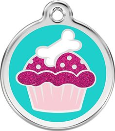 Red Dingo Stainless Steel with Glitter Pet ID Tag  Cupcake aqua large by K9 Palace >>> Learn more by visiting the image link.