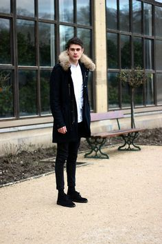 Clarks Shoes, Weekday Jeans, A.P.C. Coat