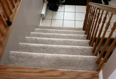 How to Install Carpet on Stairs Carpet Stairs Installation Carpet Tiles For Basement, Carpet Stairs, Carpet Installation, Stair Treads, Staircase Design, Home Remodeling, Countertops, Flooring, Wood
