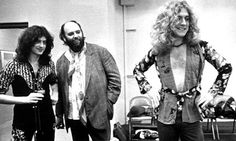 Jimmy Page with manager Peter Grant and Robert Plant of Led Zeppelin photographed in the mid 1970s