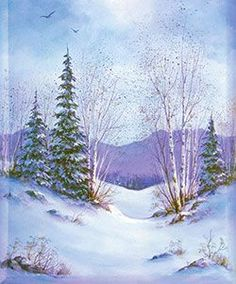 Winter trees and snow acrylic painting for beginners step by step.