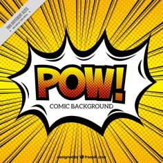 Pow speech bubble with background in pop art style Free Vector