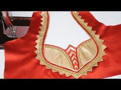Patch Work Design for Saree Blouse Cutting and Stitching 2018 - YouTube Latest Blouse Neck Designs, Chudidhar Neck Designs, Neck Designs For Suits, Dress Neck Designs, Patch Work Blouse Designs, Kids Blouse Designs, Simple Blouse Designs, Stylish Blouse Design, Designer Blouse Patterns