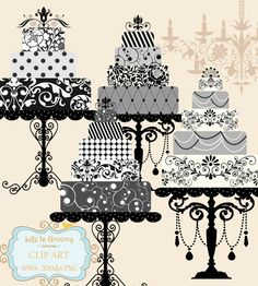 elegant black white silver grey wedding cakes set of 4 large multi tier cakes & beautiful stands W104 - unique clipart download. $5.95, via Etsy.