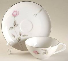 """Dawn Rose"" china pattern with pink flowers from Sango."