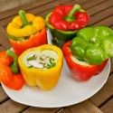 Raw Spicy Coconut Avocado Soup in Bell Pepper Bowls