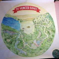 A fun little cartoon Hunger Games map I drew for a teacher to use in the classroom.  It's about 3ft. square.  Nothing special, but kind of amusing.