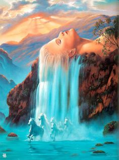 Woman hair is waterfall lying on a mountain with horses running surreal art Simple Oil Painting, Beautiful Waterfalls, Visionary Art, Salvador Dali, Nature Paintings, Horse Paintings, Surreal Art, Belle Photo, Mother Nature