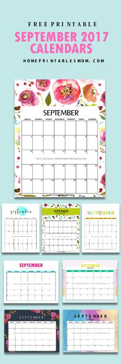 Free September 2017 calendar  printable!