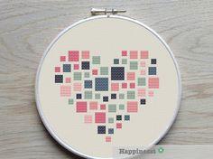 geometric modern cross stitch pattern heart squares by Happinesst