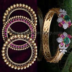 Jewellery Designs: Gold Balls Bangles in Antique Work
