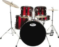 """Sound Percussion 5-Piece Drum Shell Pack Wine Red by Sound Percussion. $279.99. The mahogany shells of this Sound Percussion 5-piece shell pack produce deep, powerful tone that will lift you right out of your seat. The setup features 12"""" x 9"""" and 13"""" x 10"""" toms, 16"""" x 16"""" floor tom, 22"""" x 16"""" kick drum, plus a 5-1/2"""" x 14"""" matching snare. Its heavy-duty tom mounts with memory locks make for quick and easy set-up every time. Cymbals and hardware not included.. Save 42%!"""