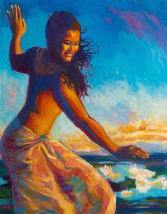 Sunset Dancer Painting by Isa Maria Hawaiian Art, Hawaiian Tattoo, Hawaiian Dancers, Hawaii Hula, Oahu Hawaii, Kauai, Hawaii Life, Tribal Tattoos, Polynesian Art