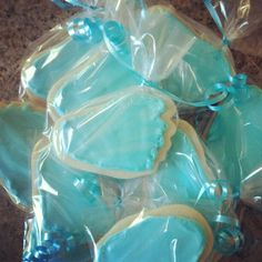 Foot shaped sugar cookies made for nephew's birth