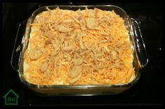 Ground Beef and Potato Casserole. Didn't use the onions on top because I didn't have any. I also covered it with foil for the first 60 minutes and then the cheese on top didn't burn.