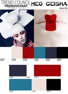 In the we saw traditional Japanese ceremonial and geisha styling heavily infused into the flapper period. These influences begin to transce. Geisha, Fashion Colours, Colorful Fashion, Color Trends, Design Trends, Colours That Go Together, Trend Council, Fashion Forecasting, New Fashion Trends