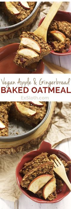 Refined sugar free, dairy free, gluten free, Vegan Apple and Gingerbread Baked Oatmeal via @ExSloth | ExSloth.com