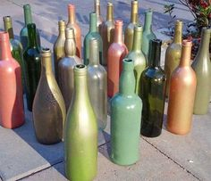 Spray Painted Wine Bottles for Centerpieces
