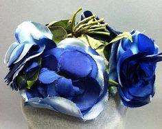 Stunning Vintage 1940's 50's Variegated Blue SILK ORGANZA Kawaii Flower Hat