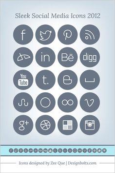 Free Simple Sleek Social Media Icons Pack 2013 Top 10 Best Free Social Media Icons Sets Recommended For 2013 | PNGs & Vectors